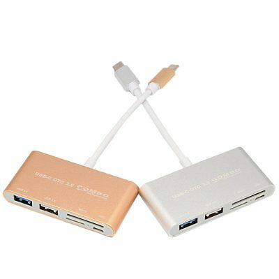 5in1 USB C Hub 3.0 Type-C Adapter Charging Data Sync Card Reader for MacBook PXH