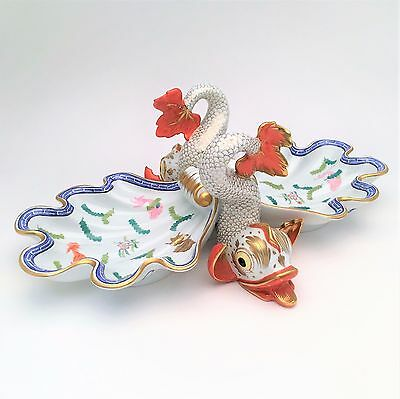 Herend Poisson Double Dolphin & Shell Centerpiece Dish