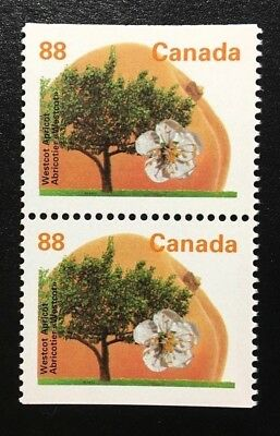 Canada #1373as PP GT4 13.1 MNH, Westcot Apricot Tree Booklet Pair of Stamps 1994