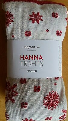 Nwt Hanna Andersson Shimmery Snowflake Tights Red Silver Black 130 140 8 10