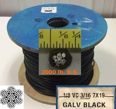 """Vinyl Coated Steel Aircraft Cable Wire Rope 250' 1/8"""" VC 3/16"""" 7x19 Black"""