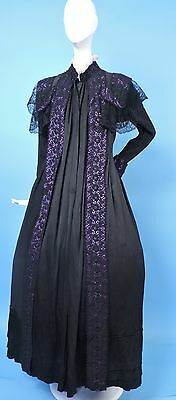 Exquisite Victorian 19Th C Silk Wrapper Dress Gown W Lace Encased Purple Silk