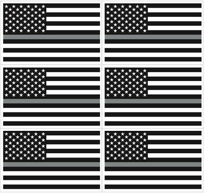 (2) 3x5 Thin GRAY Line USA Flag Decal Sticker Correction Officer  - Sticker