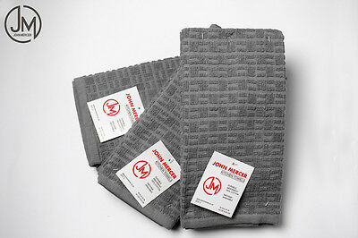Charcoal Grey Terry Tea / Kitchen Towels 100% Cotton - Soft, Durable & Absorbent