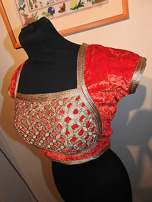 Beautiful Authentic Handmade Indian Wedding Party Velvet Blouse Designer UK14 36