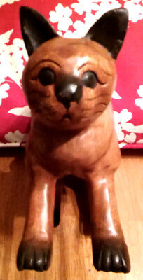 Hand Carved Cat - Walnut Wood With Black Highlights