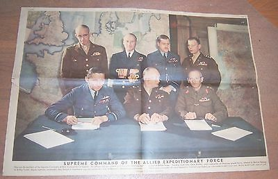 5/1944 WWII Supreme Command Allied Expeditionary Force Centerfold NY Sunday New