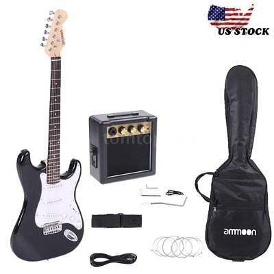 Full Size Electric Guitar with 3W Amp, Case Accessories Pack Beginner Starter US