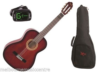 VALENCIA RED 1/4 SIZE GUITAR PACK *Inc Guitar, Padded Bag, Tuner* NEW!