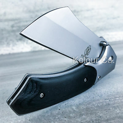 TACTICAL Spring Assisted Open Pocket Knife CLEAVER RAZOR Silver FOLDING Blade