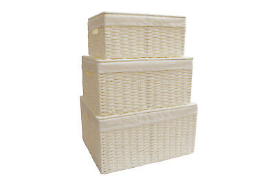 Storage Hamper Basket White Paper Rope Woven Box With Cloth & Lid