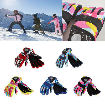 Winter Boys Girls Kids Windproof Outdoor Ski Snowboard Thick Warm Finger Gloves