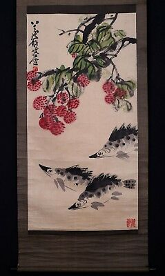 Wonderful Fantastic Rare Old Chinese Scroll Hand Painting Fishes Seal Mark PM005
