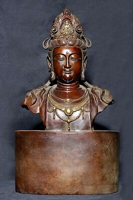 Very Large Antique Chinese Old Bronze Buddha Statue Marked QianLong AA114