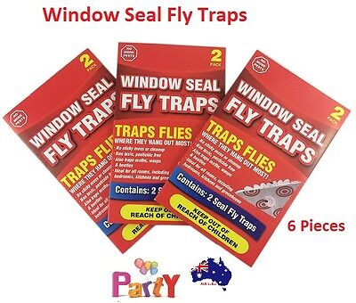 2Pcs x 3Pk Window Seal Fly Trap Sticky Wasps Moths Insect Bug Pest Control