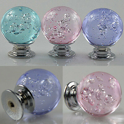 Clear Crystal Glass Bubble Ball Dresser Drawer Cabinet Wardrobe Pull Handle Mini