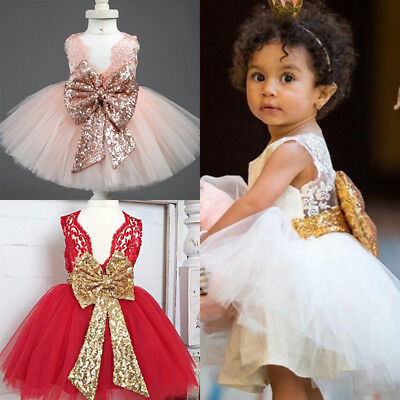 Sequin Bow Tutu Dress Girl Princess Party Wedding Baby Tulle Gown