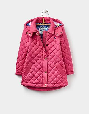 Joules 124392 Girls Marcotte Quilted Hooded Coat with Floral Lining in Warm Pink