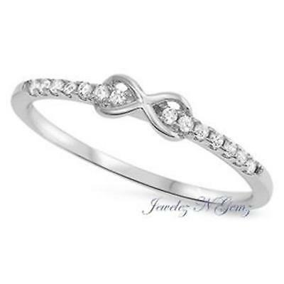 INFINITY RING ~ Womens GENUINE STERLING SILVER ~ Size 5 6 7 8 9 10 / K M O Q S U