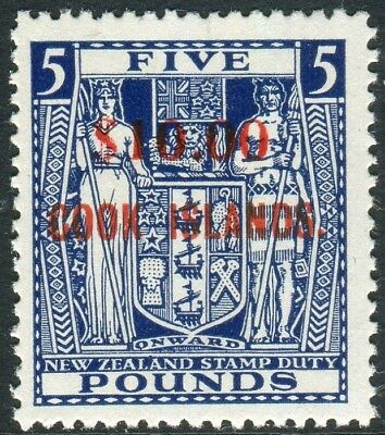 COOK ISLANDS-1967 $10 on £5 Blue INVERTED WATERMARK unmounted mint Sg 221w