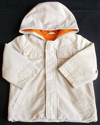 Mothercare baby boy coat jacket hooded beige orange 12-18 month