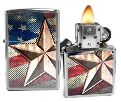 Zippo 28653 Retro Star Flag Brushed Chrome Windproof Pocket Lighter Classic NEW