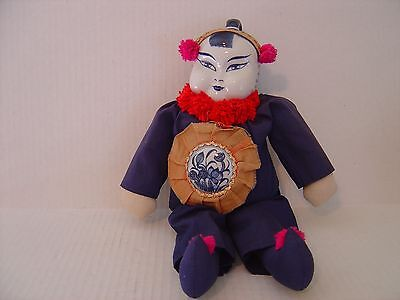 Vintage Asian Chinese Stuffed Doll With Blue & White Porcelain Head & Medallion
