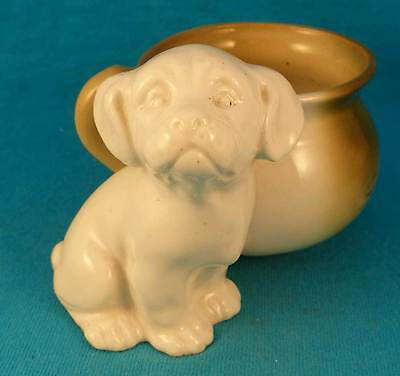 Pink pig style dog with pot or mug vintage antique spaniel mut FREE SHIPPING