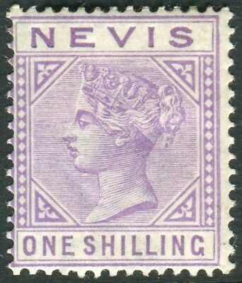 NEVIS-1890 1/- Pale Violet.  A mounted mint example Sg 34