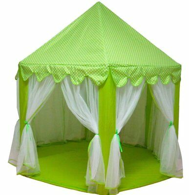 Child's Princess/castle Play Tent Kid's Green Fort & Cary Bag Free Ship From Usa