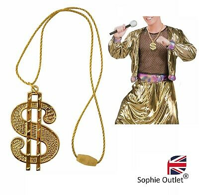 GOLD DOLLAR BLING NECKLACE Dollar Medallion Chain Gangster Rapper Fancy Dress