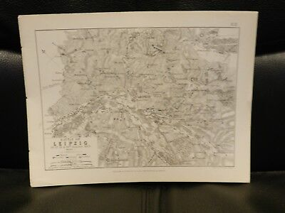 Antique Map, Battle of Leipzig 16-19 October 1813 Napoleonic War by AK Johnston
