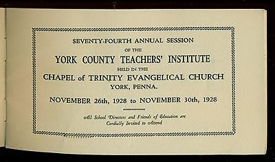 1928 York County Teachers' Institute Sessions Booklet - York,PA