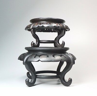 Set of 2 Vintage Asian Carved Wood Display Stands