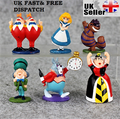 6pcs Alice's Adventures in Wonderland Action Figures Kids Cake Toppers Toy Gifts