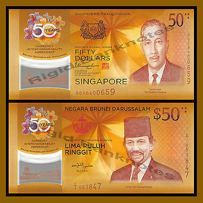 Singapore Brunei 50 Dollars Ringgit 2 Note Set 2017 50th Ann CIA Com Polymer Unc