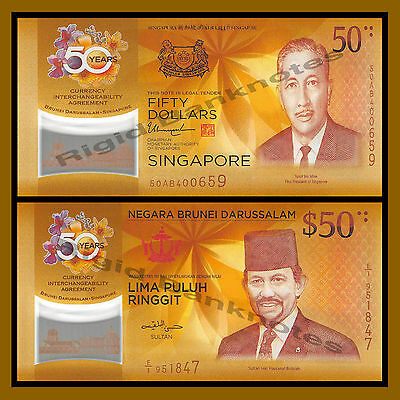 Singapore Brunei 50 Dollars Ringgit (2 Note Set0, 2017 50th Ann CIA Com Polymer