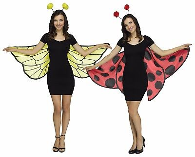 Soft Bee & Lady Bug Wings Red Yellow Fingerloop Wing Fancy Dress Womens Adult