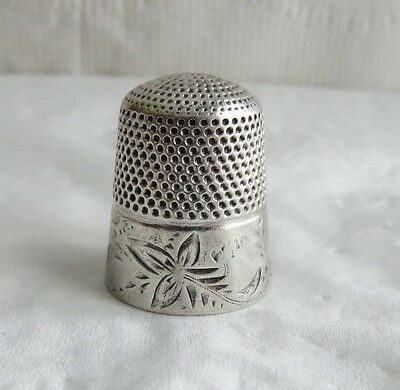 Antique Stern Bros. Co. Sterling Silver Floral Band Sz.11 Thimble