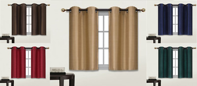 2 Small Short Grommet Panel Lined Blackout Window Curtain Treatment Drape D24