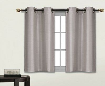 1 Set Thermal Lined Blackout Grommet Panel Window Curtain Drape D24 Silver Grey
