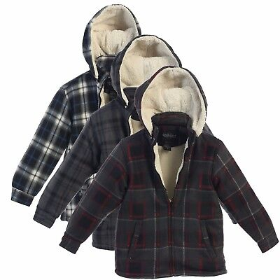 Boys Kids Jacket Coat Flannel Hoodie Sherpa Lined Plaid Checked Zip Up 4 5 6 7