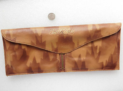 Shirt Collar Case Art Deco 1920s soft leather wallet travel pouch Lightning zip