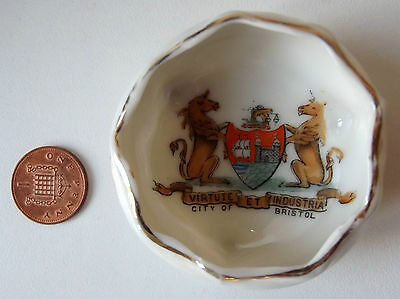 Gemma crested china City of Bristol FAIRY WARE Virtute et Industria motto
