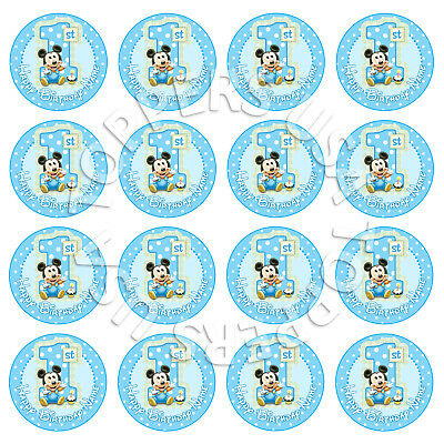 16x EDIBLE Baby Mickey Mouse 1st Birthday Cupcake Toppers Wafer 4cm (uncut)