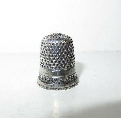 Antique Sterling Silver Size 7 Thimble Initials Ed