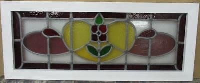 """LARGE OLD ENGLISH LEADED STAINED GLASS WINDOW Fantastic Floral 36"""" x 15"""""""