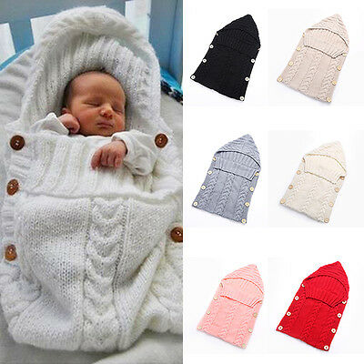 AU Newborn Baby Infant Knit Crochet Swaddle Wrap Swaddling Blanket Sleeping Bag