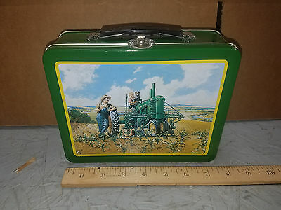 """JOHN DEERE Tin Lunch Box/Pail w/ Handle """"IMAGINATION IN ACTION """" 22001 NICE"""