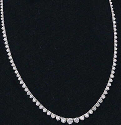 09585d3e56aa70 8 ct Round Diamond Graduated Tennis 14k White Gold 3 prong Necklace G VS/SI1